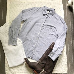 J Crew Indigo Microstripe Button Down Shirt